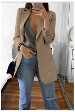 Women Slim Blazer Jacket Top Outwear Long Sleeve Career Formal Coat Khaki 2XL