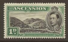 ASCENSION KGVI 1938-53 SG39 1d balck and green perf 13½ MM Cat £45  (JB7749)