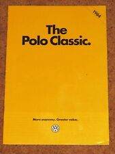 1983-84 VW POLO CLASSIC SALOON Sales Brochure - GL CL C Formel E