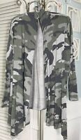 NEW Plus Size 2X Green Gray Open Cardigan Jacket Camouflage Topper $69