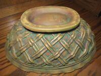 LARGE Vintage Antiqued Ceramic Planter Woven Design Oblong Green/ Gold Vase  Box