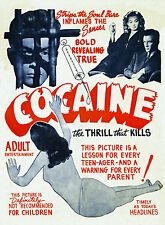 Cocaine Vintage 1930s Classic Adult Movie Film Poster A4 Reprint
