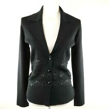 BCBG MAX AZRIA Size M Black Knit Buttons Career Lace Sequined Long Sleeve Blazer