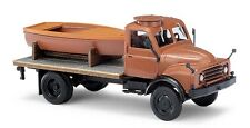 Busch H0, 50813 HANOMAG AL 28 MKW with Flatbed and Boat, Car Model 1:87