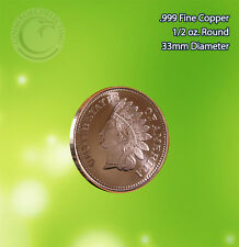 """Indian Head Penny"" 1/2 oz .999 Copper Round"