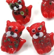 20mm Lampwork Handmade Beads Glass Standing Cat Beads - Christmas Color (5)