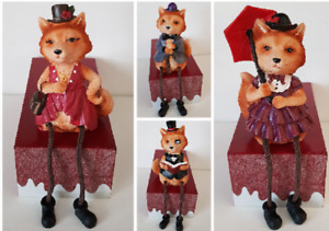 Country Fox Lord & Lady Mr & Mrs Top Hat Parasol Shelf Sitting Figures 4 Designs