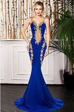 Blue Mermaid Lace Long Dress Club Wear Fashion Evening Wear Size L
