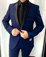 Designer Party Tuxedo Blue Black Round Collar Suit Jacket Trousers Fitted