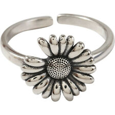 Ring Fashion Jewelry Engagement Gifts Adjustable Vintage Daisy Thai Silver Punk
