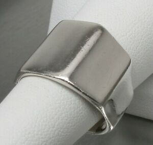 Vintage 925 STERLING SILVER Faceted Cigar Band Ring (SIZE: 7.5) 7.7 g-NO RESERVE