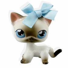 Rare Littlest Pet Shop Black White Short Hair Siamese Cat LPS #5 Blue Bowknot