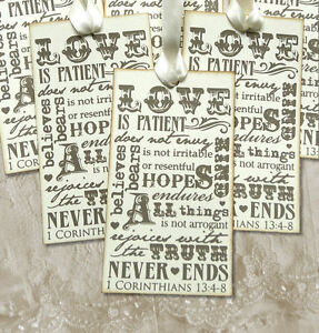 Hang Tags LOVE IS PATIENT KIND 1 CORINTHIANS 13 TAGS or MAGNET #136 Gift Tags