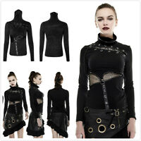 Punk Rave T-432 Womens Black Gothic Punk  Steampunk High Collars Mask T-shirt