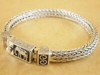 "New Woven Foxtail Wheat 925 Sterling Silver Bracelet Elephant Buckle 7.5"" 46g"