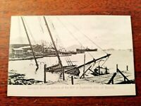 Damaged Boat of typhoon off Wanchai HONG KONG Sept 1906 Postcard #8 UNUSED