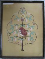 Vintage Framed 12 Days of Christmas Pear Tree Applique Embroidery