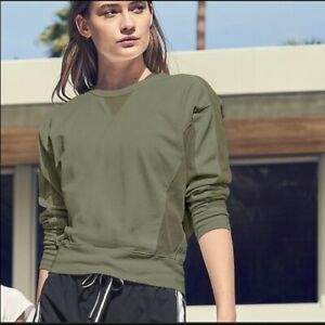 Athleta S Small Olive Green Cruise Long Sleeve Sweatshirt