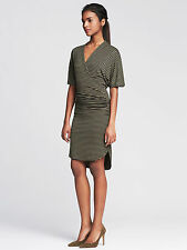 NWT Banana Republic Green & Black Shirred Stripe Surplice Faux-Wrap Dress M