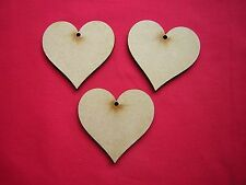 6cm MDF  HEARTS with 1 hole x 20  LASER CUT MDF WOODEN  SHAPE
