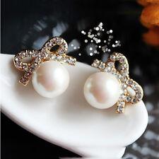Bogo Sparkle crystal * Pearl  Bow  Earrings Plus Rain Drop Pendant  Necklace