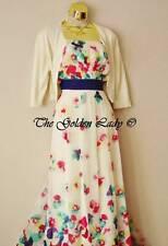 Bnwt Monsoon Ivory Chiffon Multi Flower Print Evening Wedding Maxi Dress Size 20