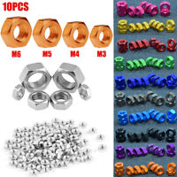 10PCS M3 M4 M5 M6 Bolt Hex Screw Nuts Craft Aluminum DIY Hardware Nuts 11 Colour
