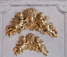 Cherubs & Flowers Hanging Decorative Wall Plaques Large & Small Gold Color