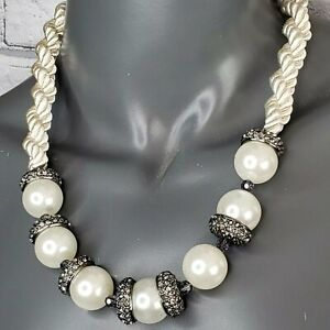 """Ann Taylor Pearl Black Bead Necklace Satin Rope Crystals 22"""" Luxe Event Designer"""