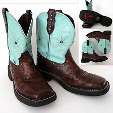 Women's JUSTIN GYPSY Western Short Boots 7 B Leather Brown Turquoise L9981