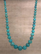 """Jay King Seven Peaks Turquoise Graduated Bead Sterling Silver 18"""" Necklace"""