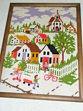 Vintage Framed Needlework Village Scene Houses Church Trees Children