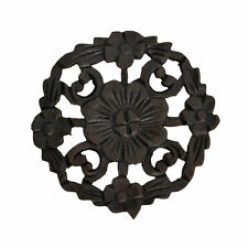 Floral Inspired Hand Carved Wooden Round Place Mat