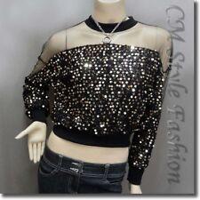 Chic Sequined Sheer Shoulder Sleeve Blouse Top Black Golden M