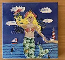 Mermaid By The Sea Ocean  Decorative Wall Art Ceramic Tile 6x6 New