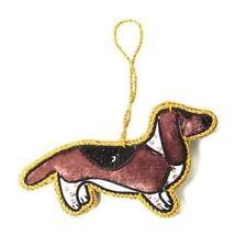 Basset Hound Dog Velvet Ornament Fair Trade Handmade India Zardozi Embroidery