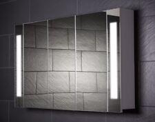 120 cm Spiegelschrank CURVE120 großer Badezimmerschrank Beleuchtung Steckdose