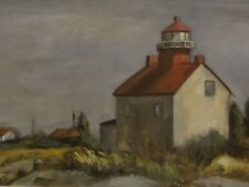 Lighthouse Watercolor Painting Beach Shore Ocean Robert Carson - Corson