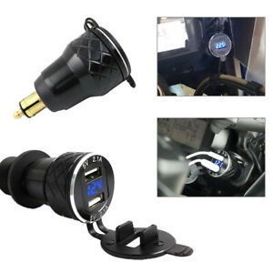 CNC 4.2A Dual USB Charger Power Socket  for BMW Hella/DIN Plug Motorcycle