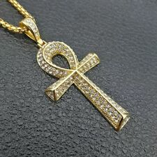 "14k Gold Ankh Pyramid Iced Out Pharaoh Life Pendant Necklace 24"" Link Chain King"
