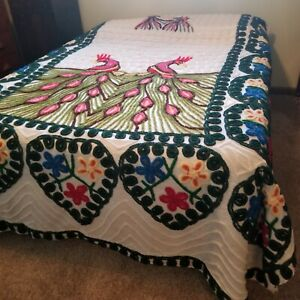 Vintage Queen Size Embroidered Chenille Blanket Peacocks 8.5' x 7.5'