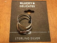 Lucky Brand Delicates Gold Tone Double Stack Sterling Silver Rings, NWT $39