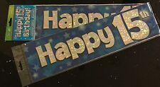 15th Boys Birthday Banner * Blue Foil * 2.7m will split into 3* 15th Birthday