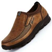 Men's Leather Real Shoes Breathable Antiskid Loafers Slip on Moccasins Sandals