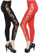 Ladies Womens Full Length Side Lace Panel Leggings Sizes 8-14