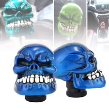Universal Wicked Carved Head Skull Car Manual Gear Knob Shift Shifter Lever Blue
