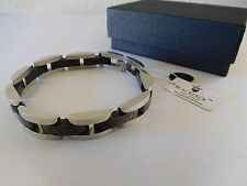 BlackJack Men's Stainless Steel Link Bracelet w/ Black Stainless Steel Insets