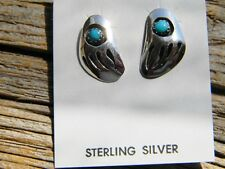 badger paws turquoise studs Sterling silver Navajo made earrings