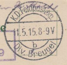 30391) Division Breugel 1915 seltener Feldpoststempel  AK Zurominek Mlawa