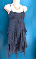 Cute Free People Charcoal Espresso Brown Sheer Tiered Sheath Dress Lined Dots S.
